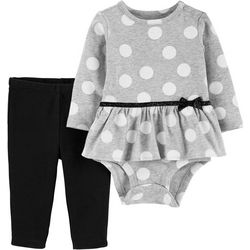 Carters Baby Girls Polka Dot Ruffle Belt Bodysuit Set