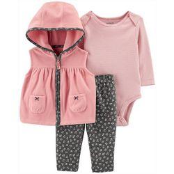 Carters Baby Girls 3-pc. Floral Stripe Vest & Bodysuit Set