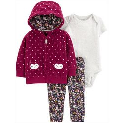 Carters Baby Girls 3-pc. Polka Dot Owl Hoodie Layette Set