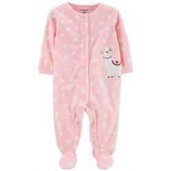 Carters Baby Girls Polka Dot Llama Snap Footie Pajamas