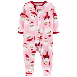 Carters Baby Girls Santa Claus Snug Fit Footie Pajamas