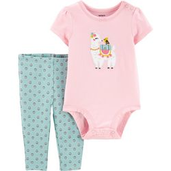 Carters Baby Girls Embroidered Llama Bodysuit Set