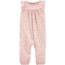 Carters Baby Girls Floral Print Flutter Sleeve Jumpsuit