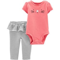 Carters Baby Girls Striped Ruffle Mouse Bodysuit Set