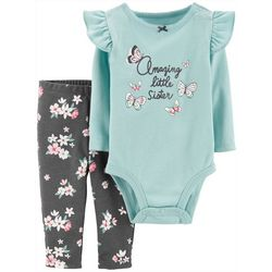Carters Baby Girls Amazing Little Sister Floral Bodysuit Set
