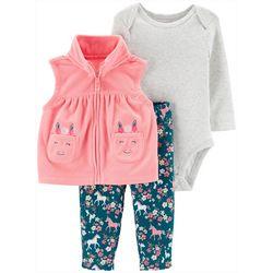 Carters Baby Girls 3-pc. Unicorn Vest & Bodysuit Set