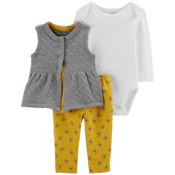 Carters Baby Girls 3-pc. Solid Quilted Vest & Bodysuit Set