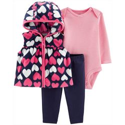 Carters Baby Girls 3-pc. Heart Print Vest & Bodysuit Set