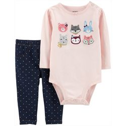 Carters Baby Girls Polka Dot Critters Bodysuit Set