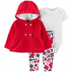 Carters Baby Girls 3-pc. Floral Dots Bodysuit & Jacket Set