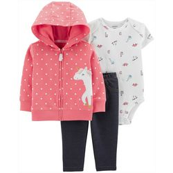Carters Baby Girls 3-pc. Unicorns & Dinosaurs Layette Set