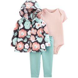 Carters Baby Girls 3-pc. Floral Hoodie & Stripe Bodysuit Set