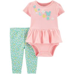 Carters Baby Girls Peplum Butterfly Bodysuit Set