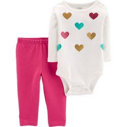 Carters Baby Girls Sparkle Heart Bodysuit Set