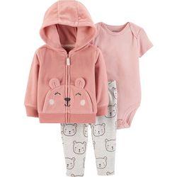 Carters Baby Girls 3-pc. Bear Jacket Bodysuit Set