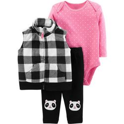 Carters Baby Girls 3-pc. Plaid Vest Panda Bodysuit Set