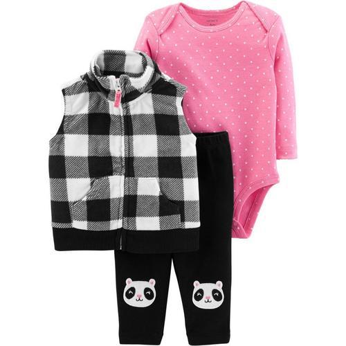 f73625c62 Carters Baby Girls 3-pc. Plaid Vest Panda Bodysuit Set
