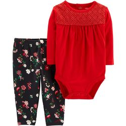 Carters Baby Girls Floral Crochet Bodysuit Set