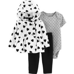 Carters Baby Girls 3-pc. Heart Jacket Bodysuit Set