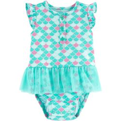 Carters Baby Girls Scale Print Tutu Bodysuit