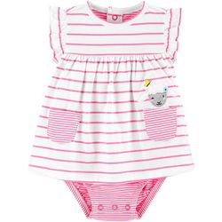 Carters Baby Girls Striped Lamb Sunsuit