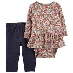 Carters Baby Girls Floral Chambray Bodysuit Set
