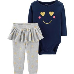 Carters Baby Girls Smiley Heart Tutu Bodysuit Set