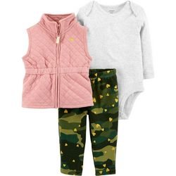 Carters Baby Girls 3-pc. Camouflage Quilt Vest Leggings Set