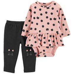 Carters Baby Girls Cat Dot Bodysuit Set