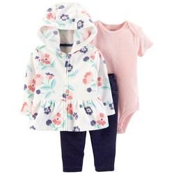 Carters Baby Girls 3-pc. Floral Jacket Pants Set