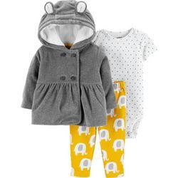 Carters Baby Girls 3-pc. Elephant Jacket Bodysuit Set