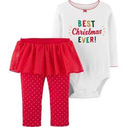 Carters Baby Girls Best Christmas Ever Tutu Bodysuit Set