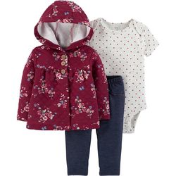 Carters Baby Girls 3-pc. Floral Hooded Jacket Bodysuit Set