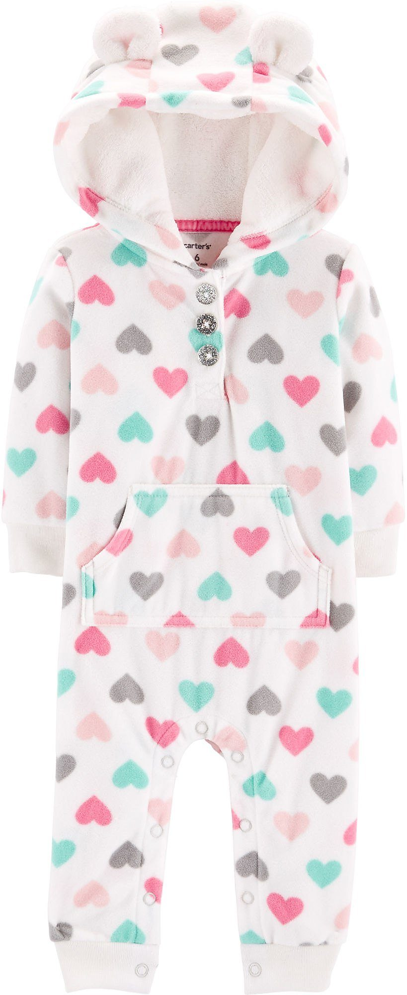 cff80d258d2 Carters Baby Girls Heart Print Fleece Hooded Jumpsuit