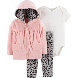 Carters Baby Girls 3-pc. Cheetah Hoodie Bodysuit Set