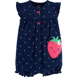 Carters Baby Girls Polka Dot Strawberry Snap-Up Romper