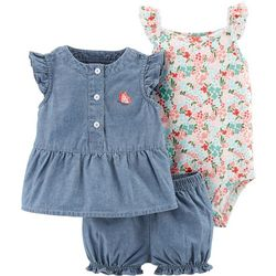 Carters Baby Girls 3-pc. Butterfly Chambray Layette Set