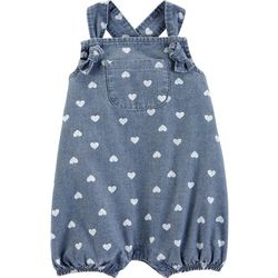 Carters Baby Girls Heart Print Chambray Bubble Romper