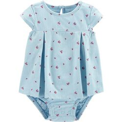 Carters Baby Girls Floral Pinstripe Sunsuit