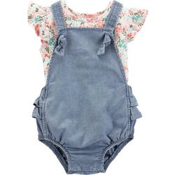 Carters Baby Girls Floral Chambray Bubble Romper Set