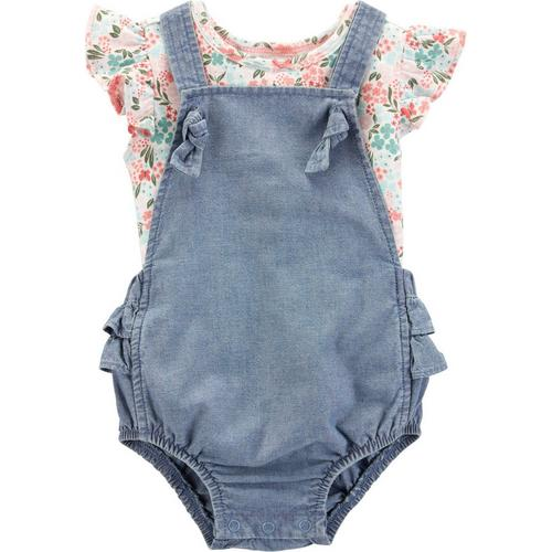 79b24e9601bf Carters Baby Girls Floral Chambray Bubble Romper Set
