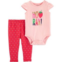 Carters Baby Girls Hooray! Polka Dot Bodysuit Set
