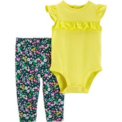 Carters Baby Girls Floral Ruffle Bodysuit Set