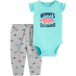 Carters Baby Girls Mommy's Cutiesaurus Bodysuit Set