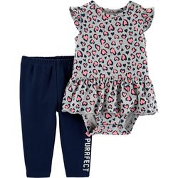 Carters Baby Girls Totally Purrfect Peplum Bodysuit Set