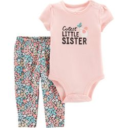 Carters Baby Girls Cutest Little Sister Bodysuit Set