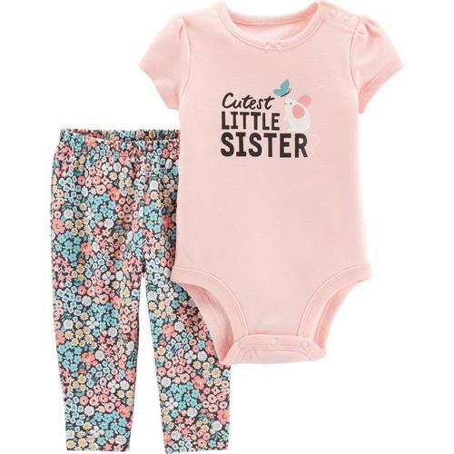 f626c55e43bc Carters Baby Girls Cutest Little Sister Bodysuit Set