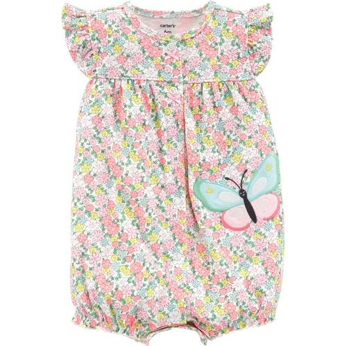 7aa1457ddff7 Carters Baby Girls Floral Butterfly Romper