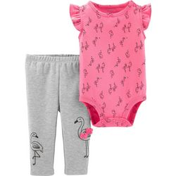 Carters Baby Girls Flamingo Bodysuit Set