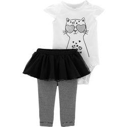 Carters Baby Girls Cool Cat Tutu Bodysuit Set